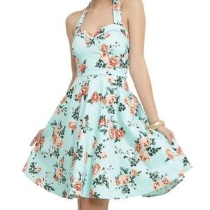 Hot Topic Retro 50s Rockabilly Floral Halter Dress